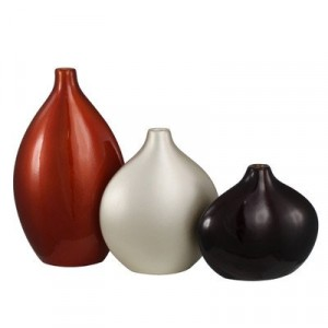 Set of 3 Decor Vase Orange, Champagne and Coffee brown