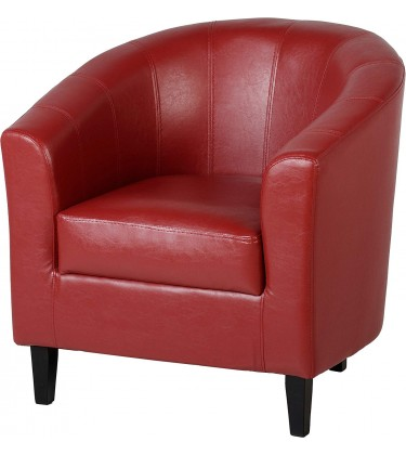 Tub Leather Chairs Red