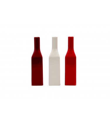 Set of 3 Red and Cream Bottle Table Vase 26cm
