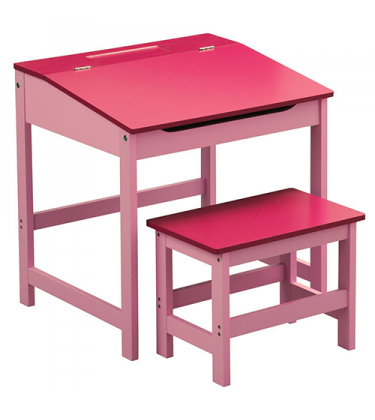 Girls Pink Desk and Stool