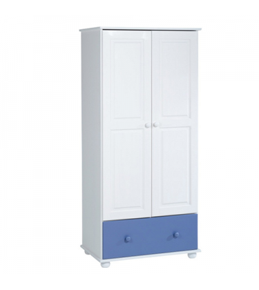 Solid Pine Boys 2 Door 1 Drawer Wardrobe Blue and White