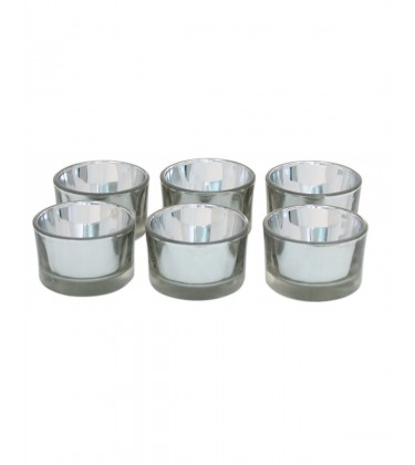 Set of 6 Silver Glass Tea Light Holder