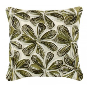 Large Silk Ribbon Cushion Green and Ivory