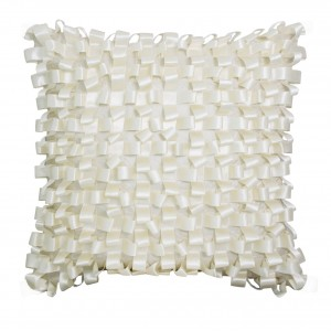 Ribbon Weave Cushion Ivory