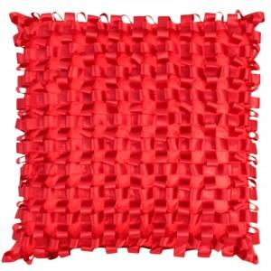 Ribbon Weave Cushion Red