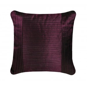 Aubergine Satin Pleat Fold Cushion