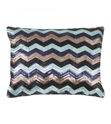 Brown and Blue Zig Zag Sequin Cushion