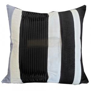 Lecia Stripe Black White and Grey Cushion