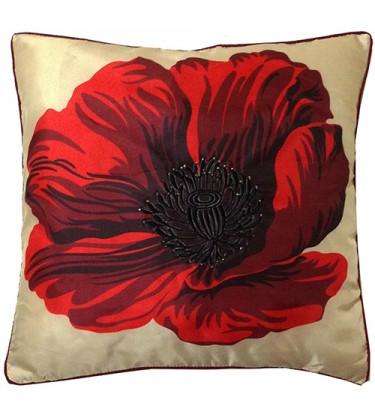 Cream  and Red Poppy Silk Cushion