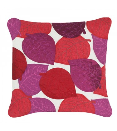 Applique Leaves Cushion Red and Purple