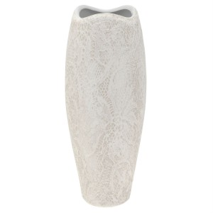 White Curve Textured Lace Vace 28cm