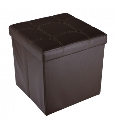 Faux Leather Foldable Storage Ottoman Brown