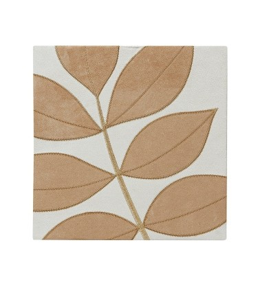 Leaf Wall Art Cream Caramel Faux Suede Small