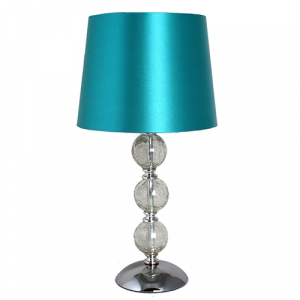 Small Clear Cracked Glass 3 Ball Lamp Blue