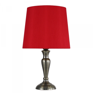 Antique Brass Table Lamp Red