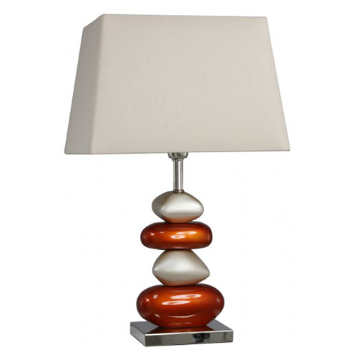 Pebble table lamp cream and orange with 13 shade aloadofball Image collections