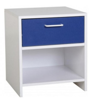 Boys 1 Drawer Bedside Table White and Blue
