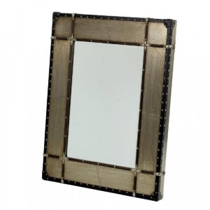 Metal and Wood Buttoned Detail Wall Mirror
