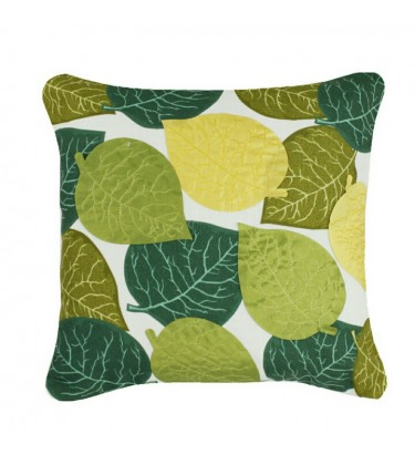 Applique Leaves Cushion Green and Yellow