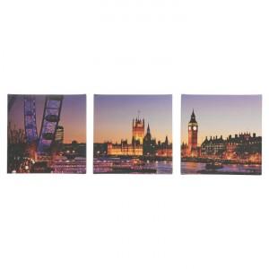 London Nightlife Set of 3 Canvas Wall Art