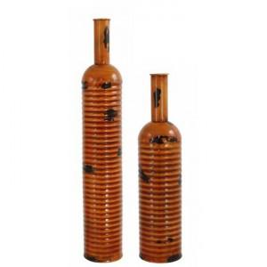 Set of 2 Orange Arabian Nights Metal Bottle Vase