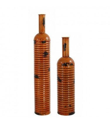 Set of 2 Orange Arabian Nights Metal Bottle Vase