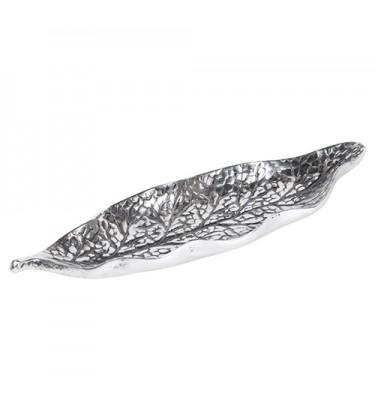 Silver and Black Decorative Leaf Dish 26cm