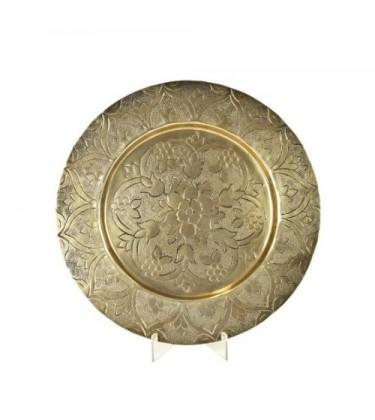Flat Gold Moroccan Platter 34cm
