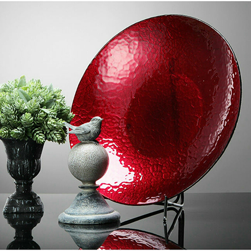 Red And Silver Decorative Gl Bowl 42cm
