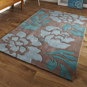 HNKG Brown and Blue Floral Rug