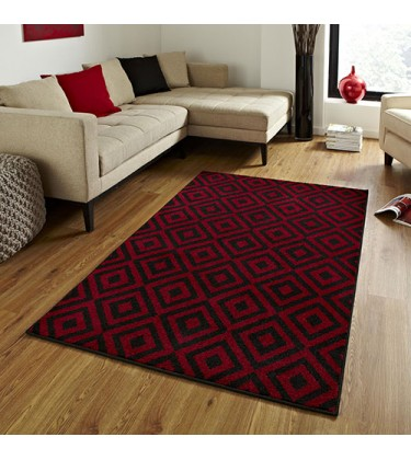 Trixx Geometry Black and Red Rug