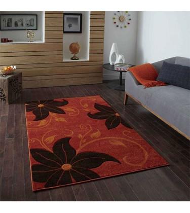 Vena Orange and Brown Floral Rug