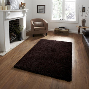 Lista Plain Dark Brown Shaggy Rug