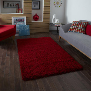 Lista Plain Red Shaggy Rug