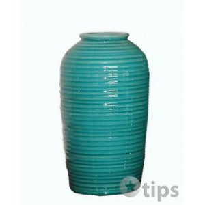 Large Teal Green Crack Effect Glazed Vase