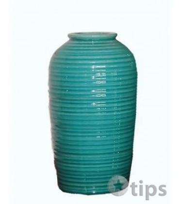 Large Teal Green Crack Effect Glazed Vase