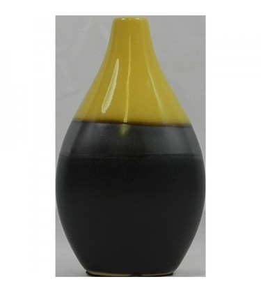 Mustard and Grey Bulb Table Vase 15cm