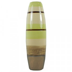 Pale Green and Cream Striped Table Vase 30cm