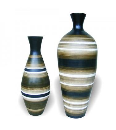 Set of 2 Striped Kaduna Large Floor Vase