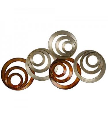 Burnt Five Circle Swirl Metal Art
