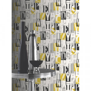 ABC Black and Yellow Wallpaper 5sqm