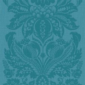 Large Damask Print Wallpaper Turquoise 5sqm