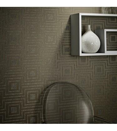 Denna Brown Heavy Weight  Geometric Wallpaper 5sqm