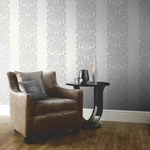 Quintz White and Grey Damask Wallpaper 5sqm