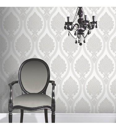 Rona Grey Damask Wallpaper 5sqm