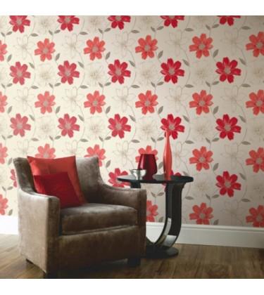 Samba Motif Coral and Red Wallpaper 5sqm