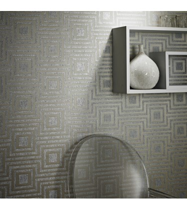 Denna Silver Heavy Weight Geometric Wallpaper 5sqm