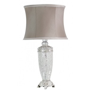 Sparkle Mosaic Antique Table Lamp Silver and Taupe
