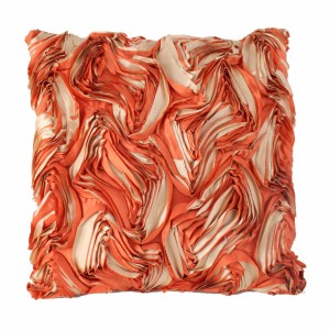 Large Ruffle Orange and Cream Cushion
