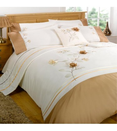 Francesca 3D Flower Petal Embroidered Duvet Cover Set